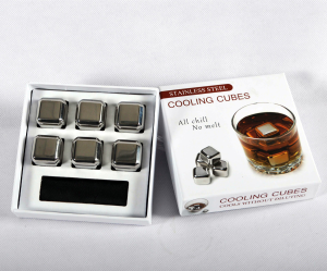 Stainless steel ice cube 6pcs set (color box packaging)