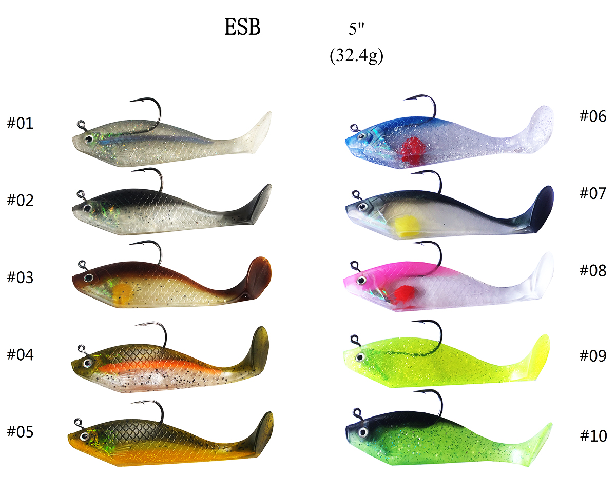 ESB5 Shad Minnow Swimbait Swim Bait Soft Fishing Lure Bait Terminal Tackle Barb Thorn Hook 5 Inch 33g